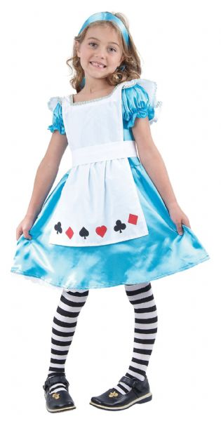 Girls Alice Childs Costume Fairytale Make Believe Fancy Dress Outfit